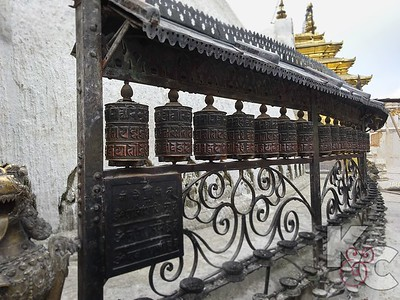Prayer Wheels Outside Monkey Temple