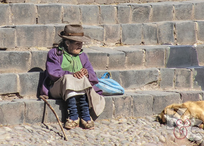 Dog & Lady on Andahuaylilas Church Steps