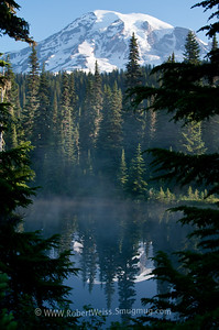 Sunrise over Mount Rainier at Reflection Lakes.
