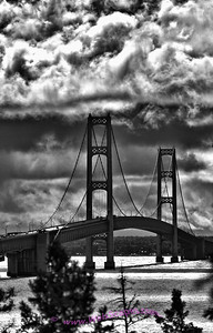 Storm clouds with high winds over the Mackinac Bridge.