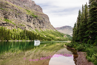 Afternoon reflections on Lake Josephine, Glacier National Park.