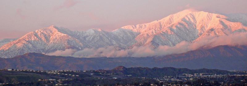 Mount Baldy, after a southern California winter storm - around sundown