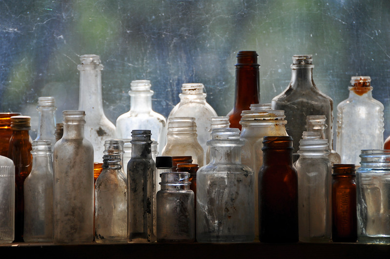 Bottles in a Window, New Mexico, USA