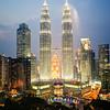 Night shot of Petronas Towers in Kuala Lumpur, Malaysia