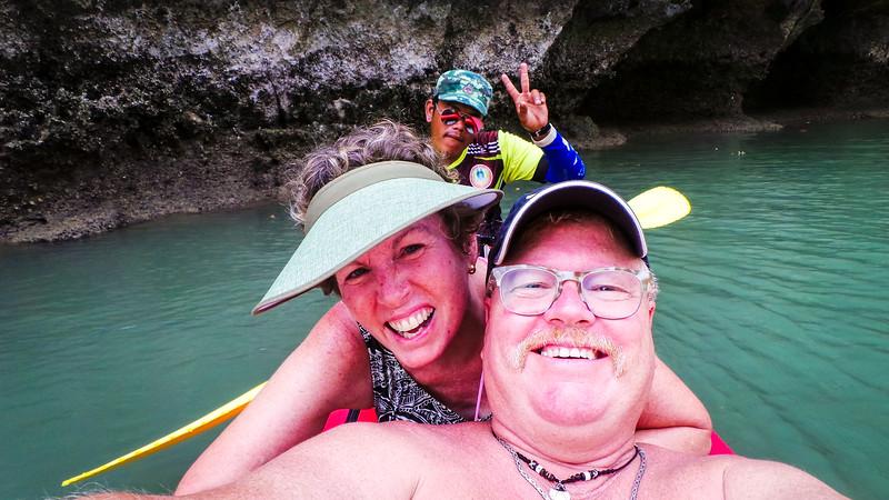 Kayaking near James Bond Island off of Phuket, Thailand