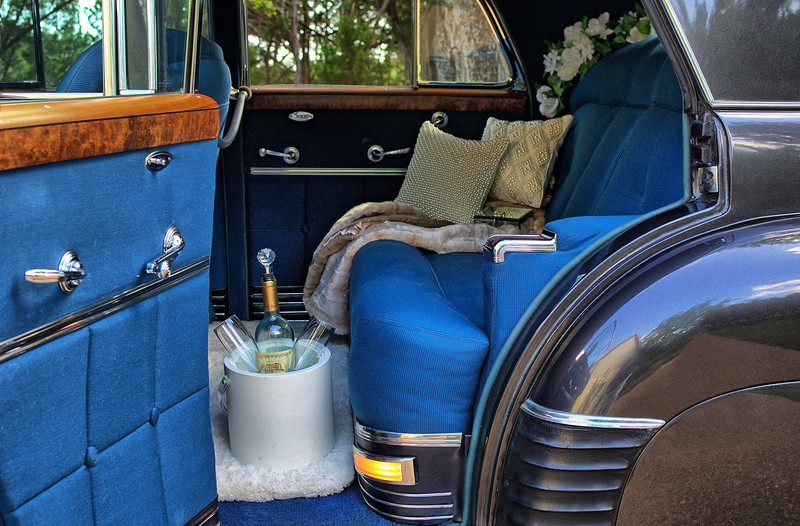 Back seat luxury in a 1941 Cadillac.