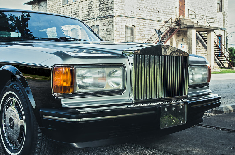 Front of 1989 Rolls Royce in Dripping Springs, Texas.