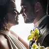 Romantic high contrast wedding photo.