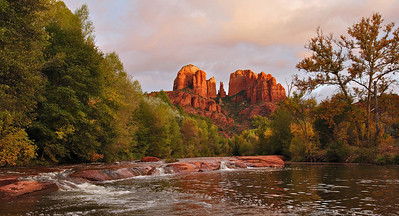 Cathedral Pool Cathedral Rock rises above Oak Creek near Sedona.  I had made several trips before getting the right sunset conditions as fall was beginning in this stretch of the creek.