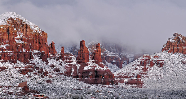 The Nuns and Chapel on the Rock after a Sedona snowfall