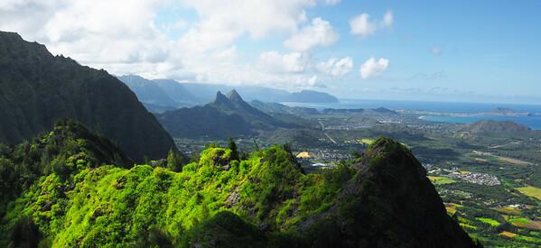Mt. Olomana at the center of a caldera from the summit of Mariner's Ridge, Hawaii Kai.