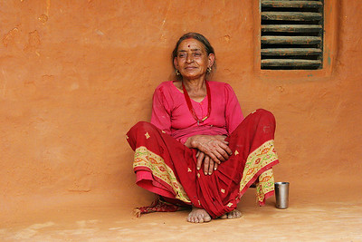 Nepalese woman at her home,Ganesh's mother.