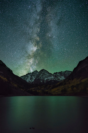 Maroon Bells under the Galaxy.  A 17-shot image stack to reduce noise. Sony A7Rii with Zeiss Batis 25 mm f/2.0