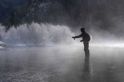 Single digit temperatures didn't stop this fly fisherman in Eleven Mile Canyon on this frosty morning in January.