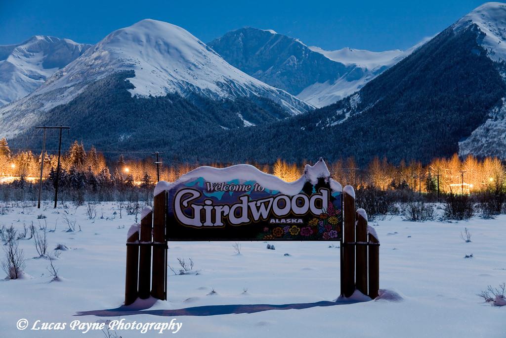 Moonlight over Girdwood, Alaska.<br /> December 11, 2008.