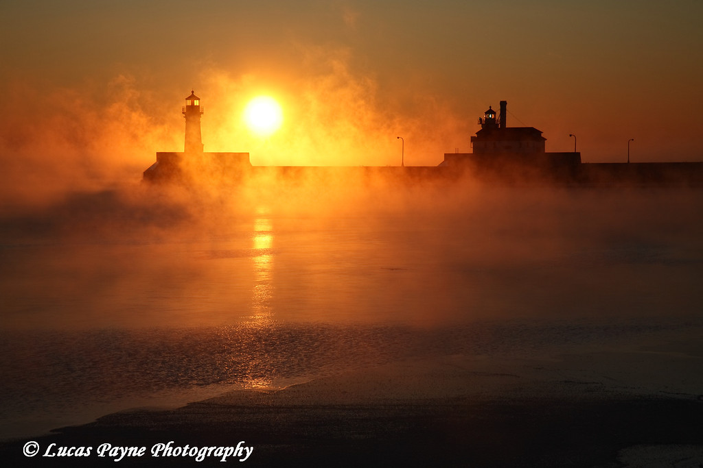Steamy Winter Sunrise On Lake Superior at Canal Park In Duluth, Minnesota