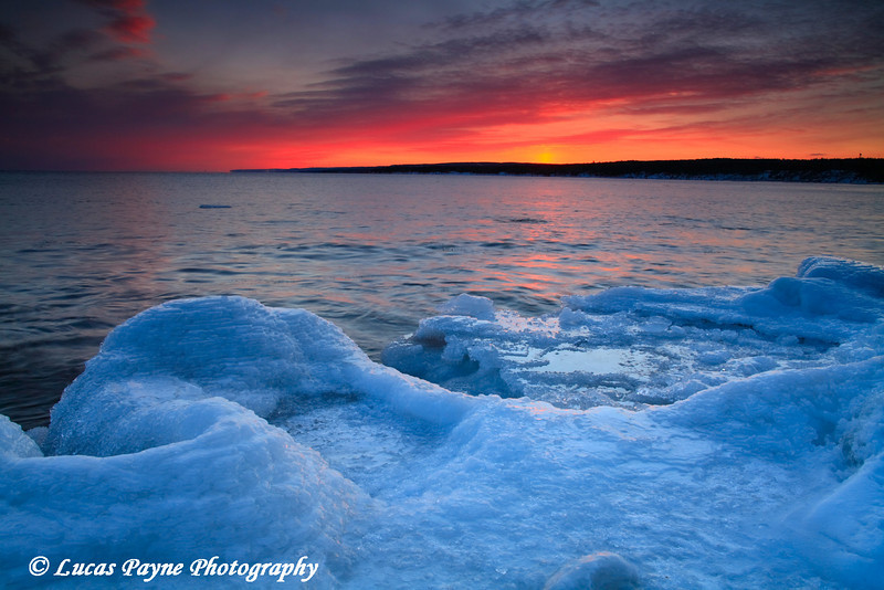 Lake Superior Winter Sunset at Stoney Point