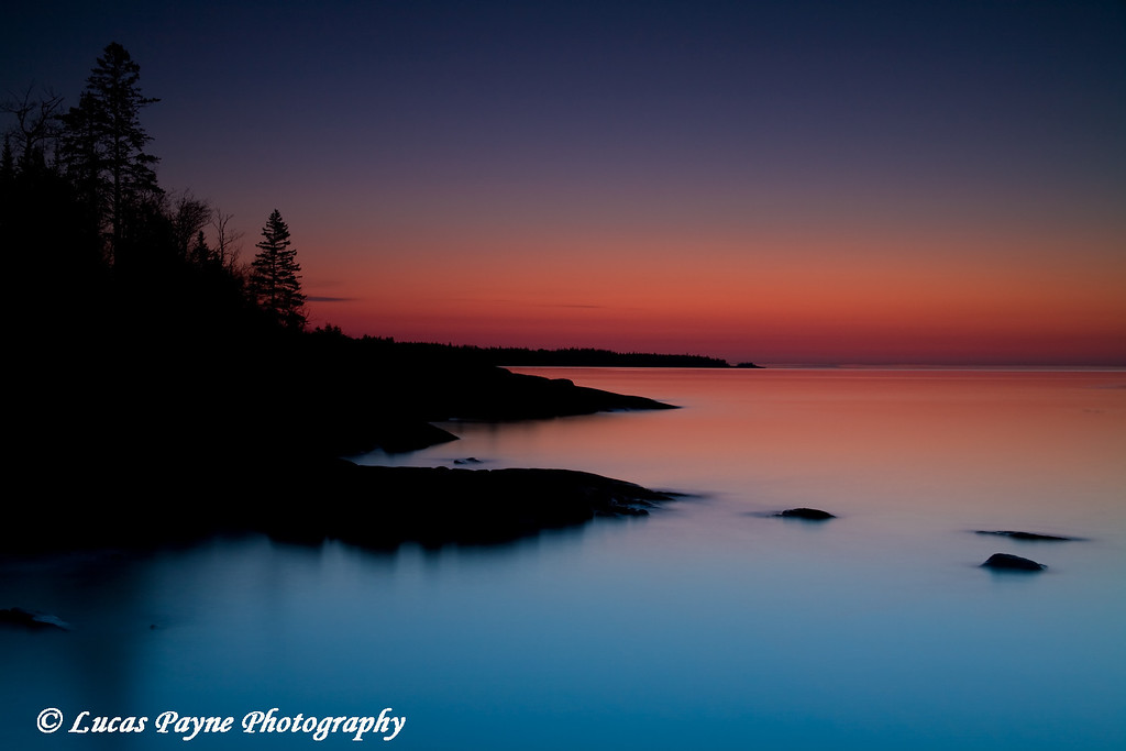 Dawn at Stoney Point along the North Shore of Lake Superior in Minnesota.<br /> April 23, 2008