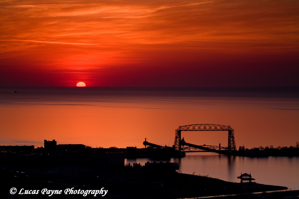 Sunrise over Duluth, Minnesota from Enger Park<br /> April 16, 2008