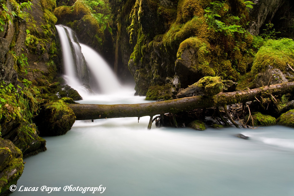 Virgin Creek Falls near Girdwood, Alaska<br /> August 15, 2009