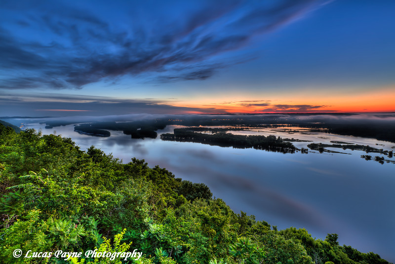 Summer sunrise over the Mississippi River from Pikes Peak State Park in Northeast Iowa.<br /> July 05, 2011<br /> HDR