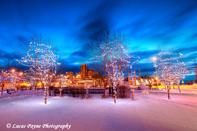 Christmas Lights and Downtown Anchorage Alaska from Ship Creek <br /> (HDR)<br /> January 29, 2011