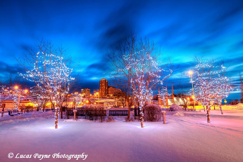 Christmas Lights and Downtown Anchorage Alaska from Ship Creek <br /> (HDR)<br /> January 29, 2011