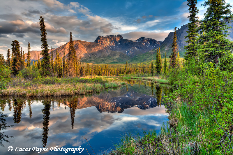 Skookum Volcano reflecting in a pond along the Nabesna Road in Wrangell-St. Elias National Park and Preserve<br /> June 10, 2011<br /> HDR
