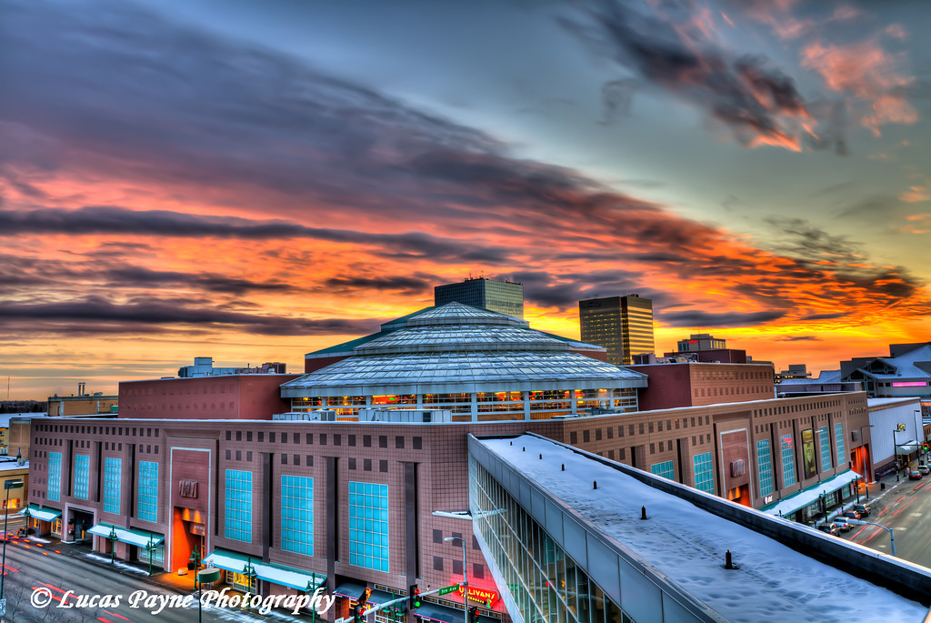 Anchorage 5th Ave Mall Sunset <br /> (HDR) <br /> February 25, 2011