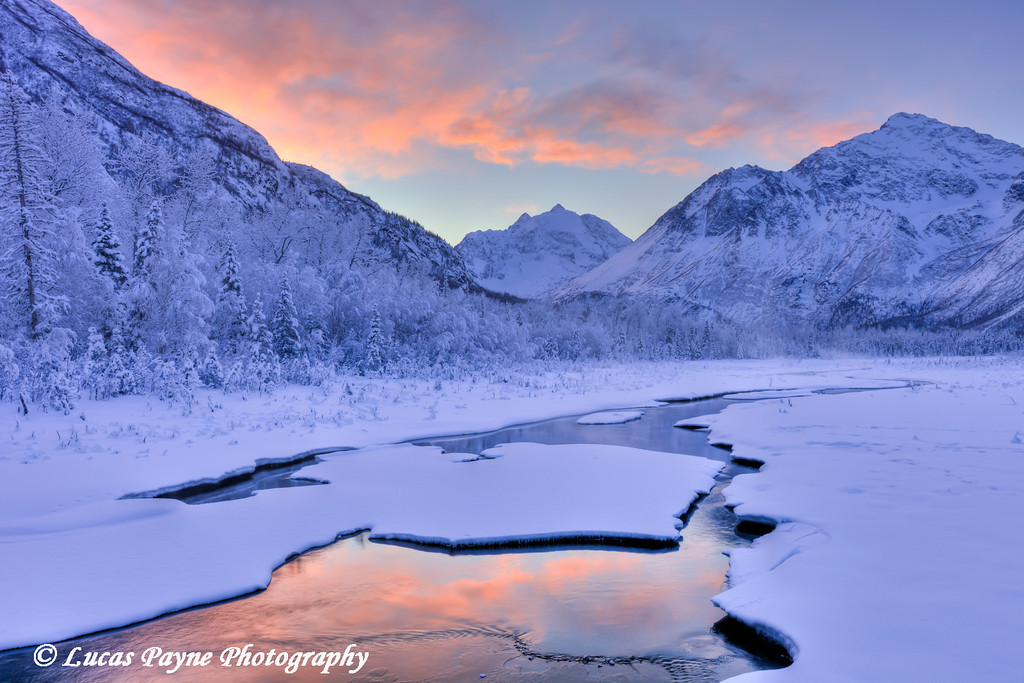 Colorful sunrise over a stream at the Eagle River Nature Center in Chugach State Park<br /> <br /> January 24, 2012