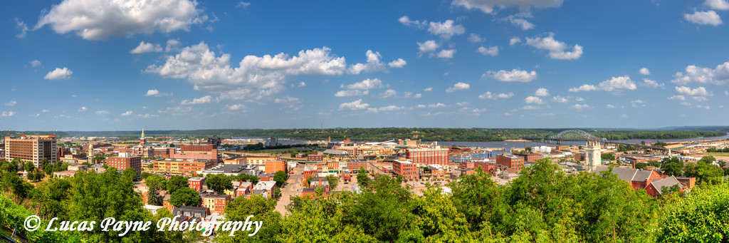 Panoramic view of Downtown Dubuque and the Mississippi River from the Fenelon Place Elevator, Northeast Iowa<br /> <br /> July 03, 2012