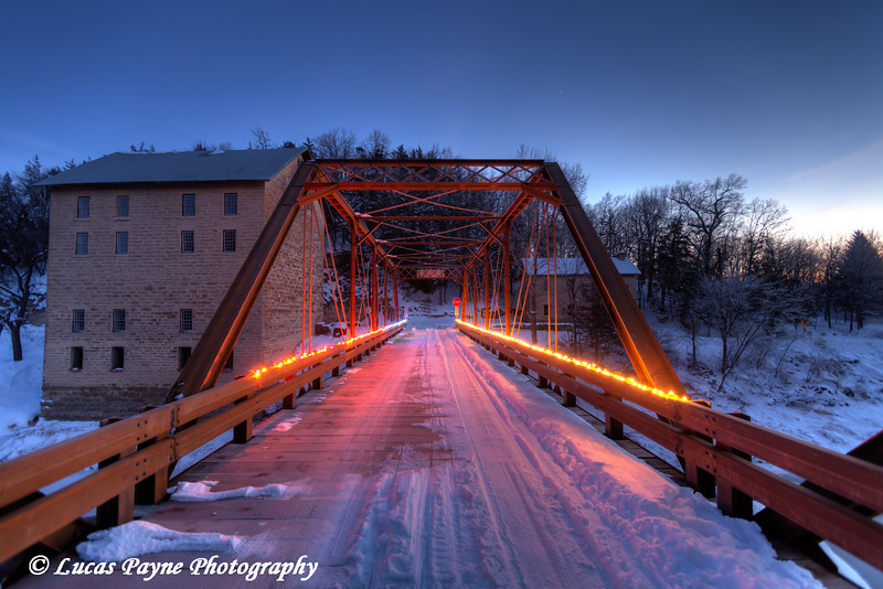 Christmas lights on the bridge crossing the Turkey River at Motor Mill in Clayton County, Northeast Iowa<br /> <br /> December 21, 2012