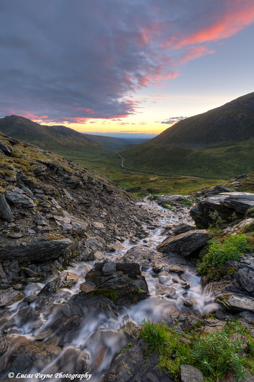 Scenic sunset view of a mountain stream at Summit Lake State Recreation Site, Hatcher Pass.<br />  <br /> August 24, 2013