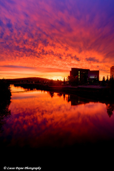 Sunrise over the Chena River in downtown Fairbanks, Alaska. <br /> September 07, 2010