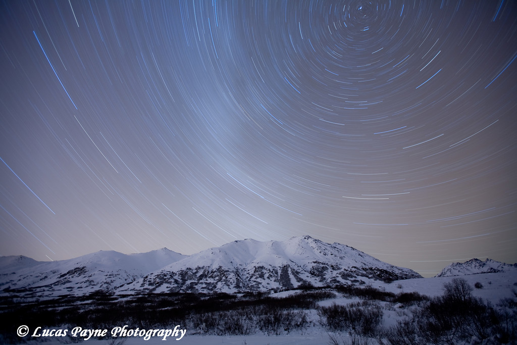 Star Trails over the Talkeetna Mountains at the Gold Mint Trail head near Hatcher Pass.<br /> 1 hour exposure<br /> January 9, 2010