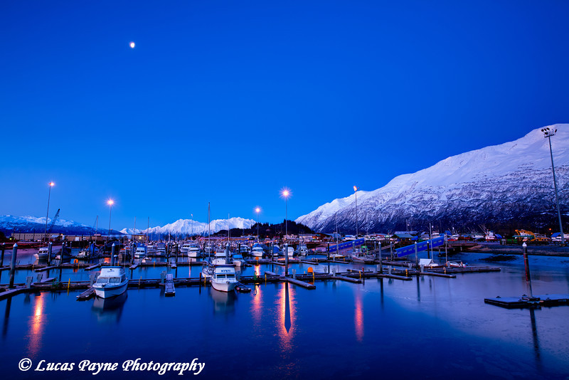 Valdez Harbor moonlight.<br /> HDR<br /> November 26, 2010