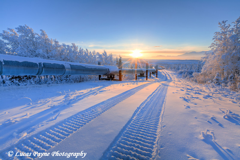 Winter sunset and the Alaska Pipeline.<br /> HDR<br /> December 27, 2010