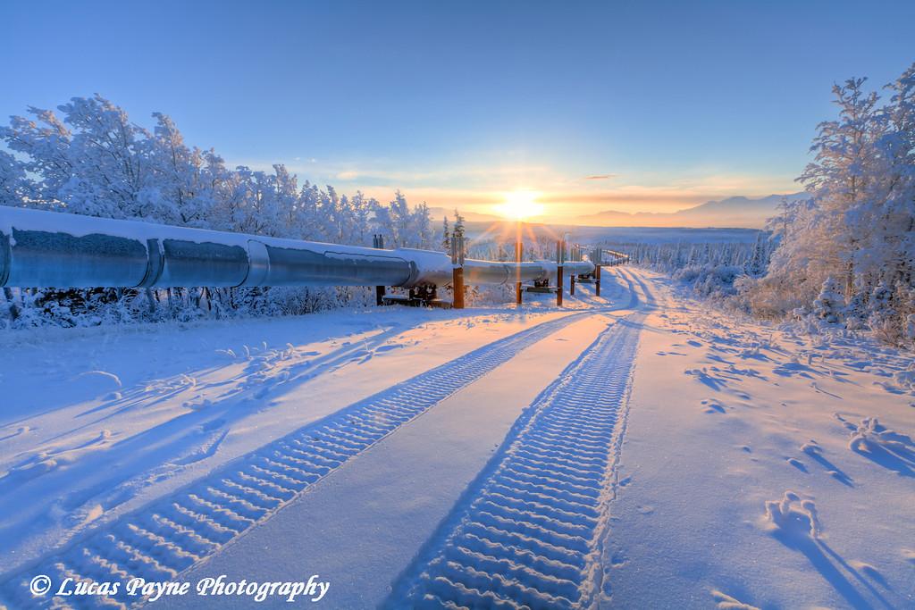 Winter sunset and the Alaska Pipeline.<br /> HDR<br /> December 27, 2010