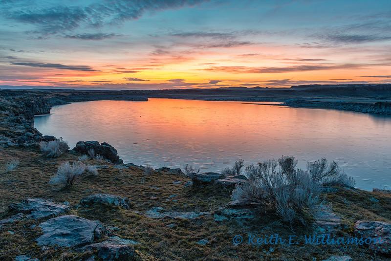 Sunset over Long Lake, Columbia National Wildlife Refuge, Washington