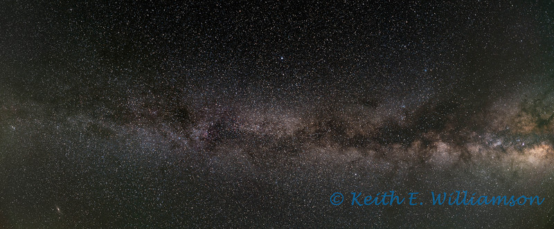 Part of our Milky Way Galaxy, as seen over Steens Mountain, Oregon.  Three images (five minute exposures, each) stitched.  See the Andromeda Galaxy on the bottom left hand side of the image (it helps to view it at the largest size)?  Images taken at an elevation of 9,400 feet high.