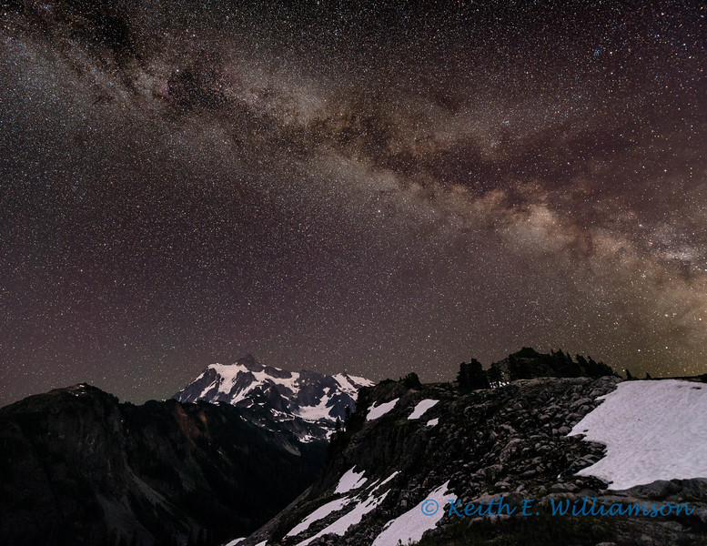 Milky Way over Mount Shuksan, from Artist's Point.  Another image composed from two images (sky and foreground), each four minute exposures.  The Astrotrac system was used for the sky exposure to compensate for earth's rotation.