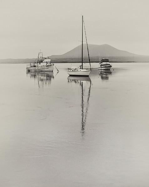 3 boats at anchor San Quintin, BC Mexico
