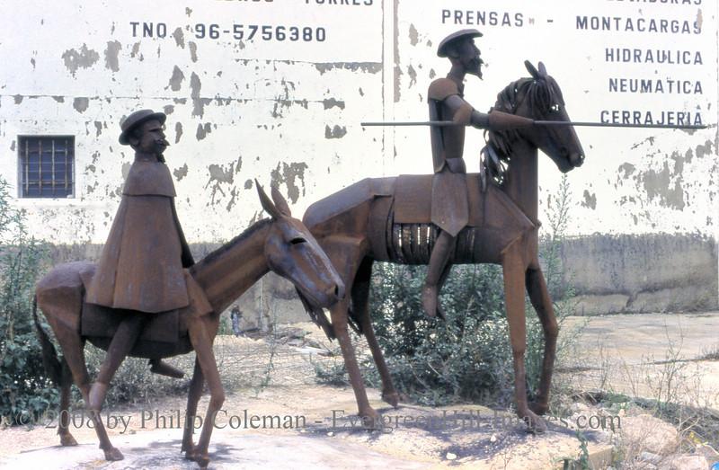 Don Quixote and Sancho Panza, iron statues near Javea (Xabia), Spain