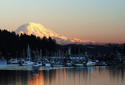 #4784 - Mt. Ranier from Gig Harbor at Dusk  One of the many sunsets we enjoyed during the week.
