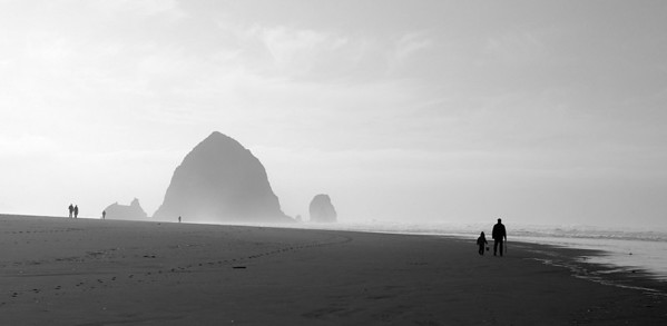 Haystack Rock, Cannon Beach, Oregon. Seth and Ethan are on the right. December 11, 2005