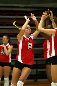 Volleyball Tournament this weekend Which they were undefeated in. Saturday they played NC State A&T Jessica Clayton number 8 being introduced as the starting lineup for the Gardner-Webb Running Bulldogs