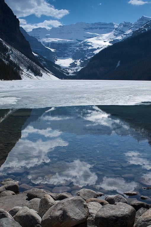 Lake Lousie half frozen