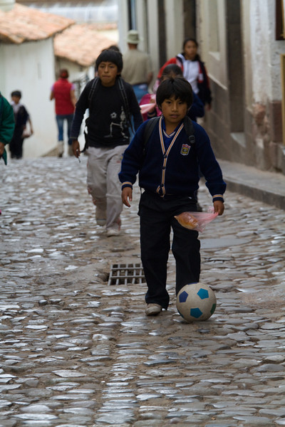 Playing some soccer in the streets of Cuzco.