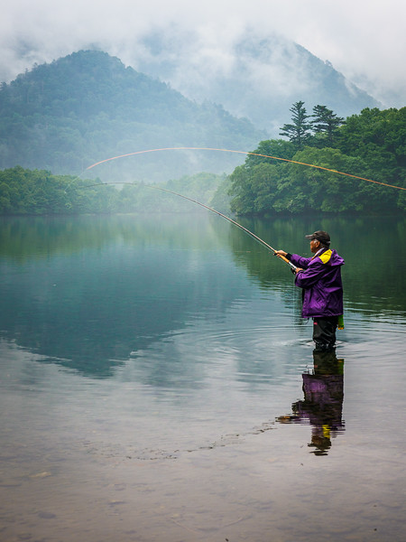 Fly fishing in the misty mountain lakes...Japan