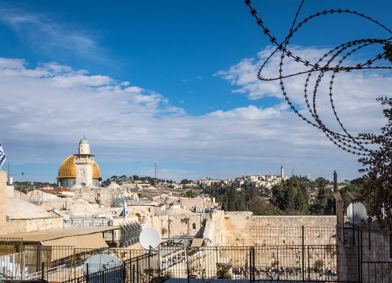 The Dome of the Rock and Western Wall in Jerusalem, separated by barbed wire...Israel